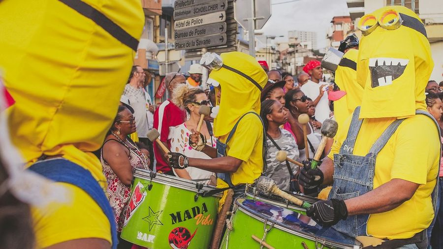 Lundi Gras - Minion Band Martinique Colors Of Carnival Minion  Costume Music Band Island Life Caribbean Carnival Streetphotography Colors Fun
