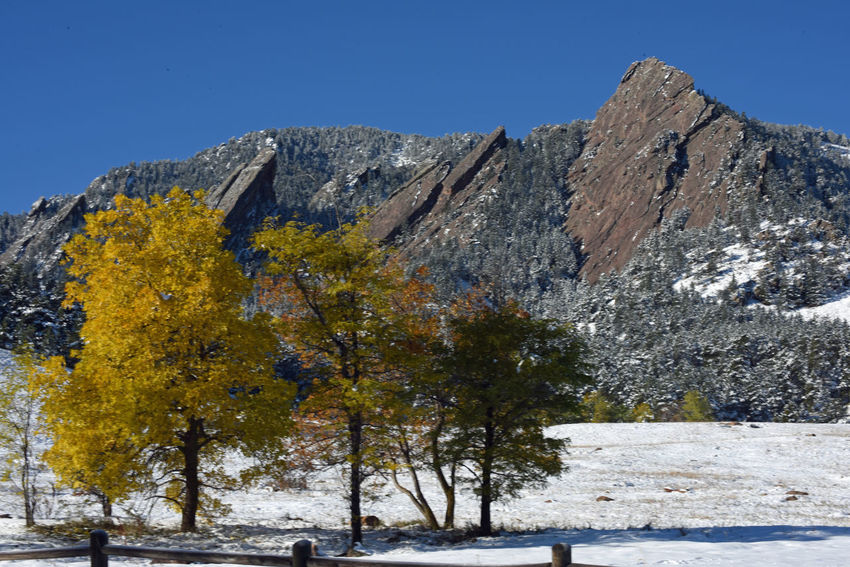 "Oct 2017 - ""First snow on the Flatirons"" Chautauqua Trail Colorado Fall Colors Rocky Mountains USA Blue Sky Background Boulder - Rock Day Inspirational Mountains And Sky Snow"