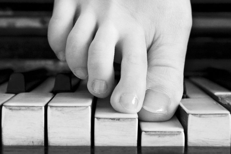 Act Black & White Blackandwhite Photography Close-up Foot Foot Fingers Human Body Part Human Finger Music Musical Instrument Piano Piano Keys Piano Moments Stairs Touching