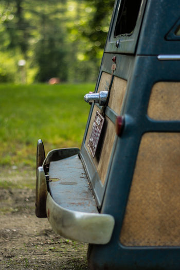 Rear door of a 1959 Crosley Antique Antique Car Back Beautiful Cars Classic Classic Car Motor Rear View Aged Bokeh Car Crosley Depth Of Field Grass Nature No People Old Outdoors Plate Rear Tailgate  Transportation Trunk Vehicle