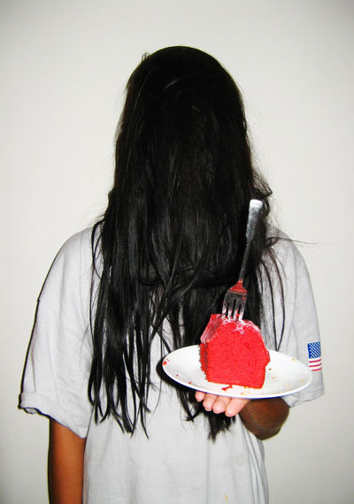Long Hair Hairstyle Women Obscured Face Sweet Black Hair Red One Person Hair Weird Weirdo Strange Odd Ghost Red Velvet Cake Spooky Girl Girls Holding Food Lifestyles Sweet Food Human Hair Front View Real People Indoors
