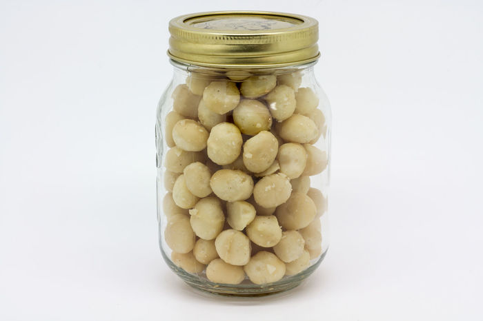 Macadamia Nuts Abundance Close-up Container Cooking Food Freshness Group Of Objects Large Group Of Objects Macadamia Macadamia Nuts No People Nuts Organic Still Life Storage Jars Studio Shot White Background