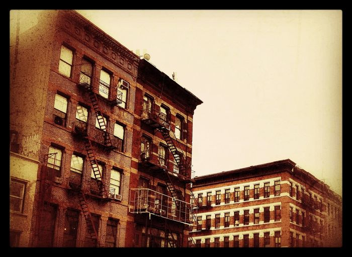 The Bowery. Bowery Manhattan NYC Tenement Houses Architecture No People Low Angle View Outdoors Auto Post Production Filter Building Exterior Built Structure Architecture Sky No People Low Angle View Outdoors Sculpture Day First Eyeem Photo