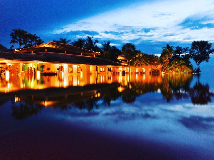 Reflection Water Built Structure Architecture Dusk Sky Lake House Tree Night Building Exterior Cloud - Sky Illuminated Outdoors Scenics Nature Sunset Vacations No People Beauty In Nature