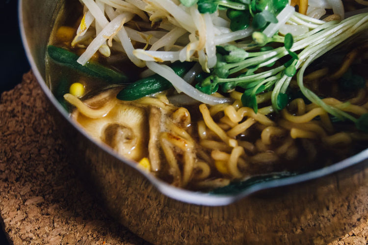 Close-Up Of Fresh Ramen Noodles Served In Bowl On Table