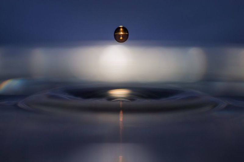 Orb Drop Water Motion No People Close-up Illuminated Indoors  Splashing Droplet Nature High-speed Photography Day Freshness Indoors  Focus On Foreground