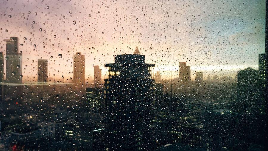 Sunset Skyline Rain Raindrops Rainy Day Frankfurt Am Main