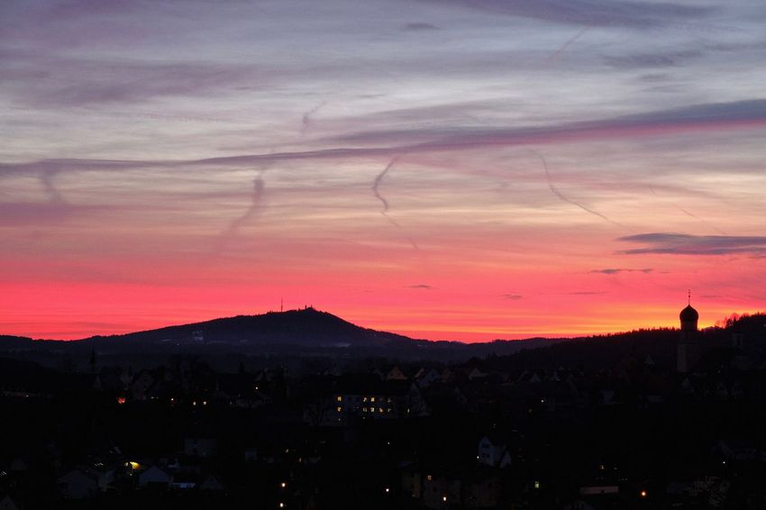 Schongausunrise Architecture Cityscape Mountain My Hometown Red Color Red Sky Schongau Silhouette Sky