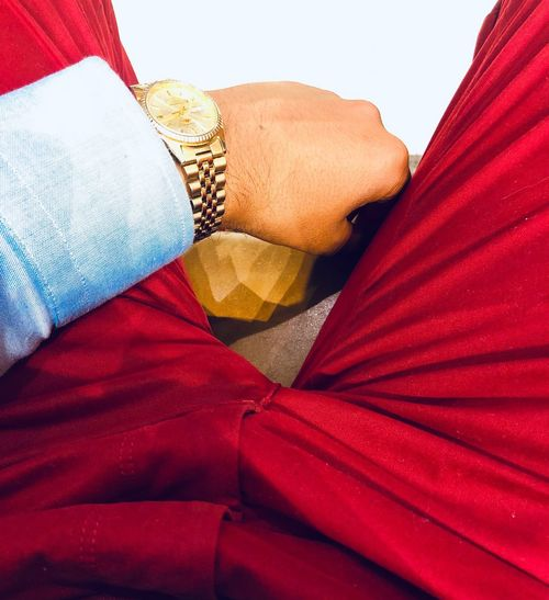 Bling Bling Red Gold Colored Money Money Money Money Lifestyle Lifestyles Clock Outfit Of The Day Outfitoftheday Outfit #OOTD Outfit Gold Millionaire Watch Red Human Body Part One Person Body Part Indoors  Close-up Textile Clothing Lifestyles