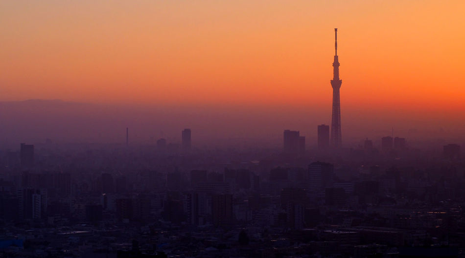 Silhouette of Tokyo sky tree building and landscape city in evening sunset. Silhouette Tokyo Sky Tree Architecture Building Exterior Built Structure City Cityscape Day Fog Nature No People Outdoors Sky Skyscraper Sunset Tokyo; Sky; Tree; Japan; Tower; City; Skytree; Skyline; Travel; Night; View; Asia; Cityscape; Sumida; Landmark; Architecture; Dusk; Business; Modern; Japanese; Scenery; Scene; Asian; Famous; Financial; Building; Downtown; District; Twilight; Sunset; Blue; Tower Travel Destinations