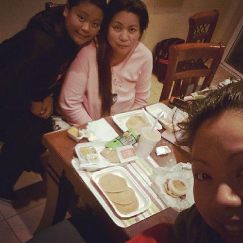 Feeding  our Sick Mother some Maccas . pancakesorangejuicehashbrownbaconneggmcmuffinbreakfastmorningyummoloveher @shelley_maemae @juliepatacsil