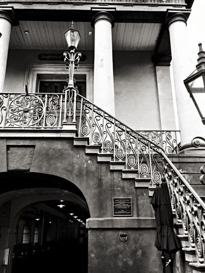 Wrought Iron Staircase Gaslight Classical Architecture Charleston SC Black And White