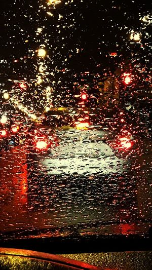 Rethink Things No People Full Frame Outdoors Red Water Close-up Nature Multi Colored Night Astronomy Rain Drops On The Window Car Red Lights. In The Streets Of Chicago Illision City
