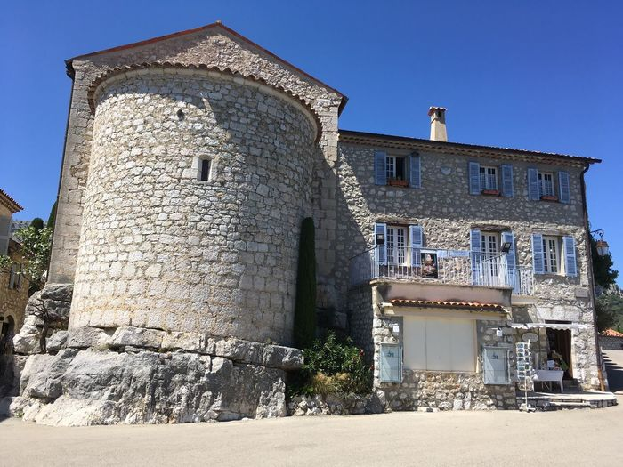 Village Castle Gourdon Stone Wall Tower Windows Shades Blue Stone House Architecture House On A Rock Rock