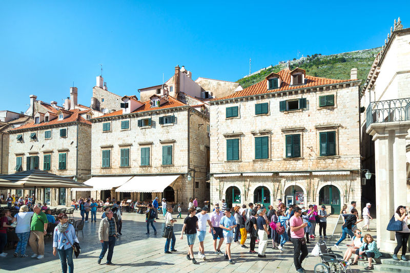 Tourists walking inside the old town of Dubrovnik in Croatia Adriatic Adriatic Sea Architecture Beautiful Crotia Dubrovnik Medieval Town Nature Old Town Tourism Travel Unesco UNESCO World Heritage Site