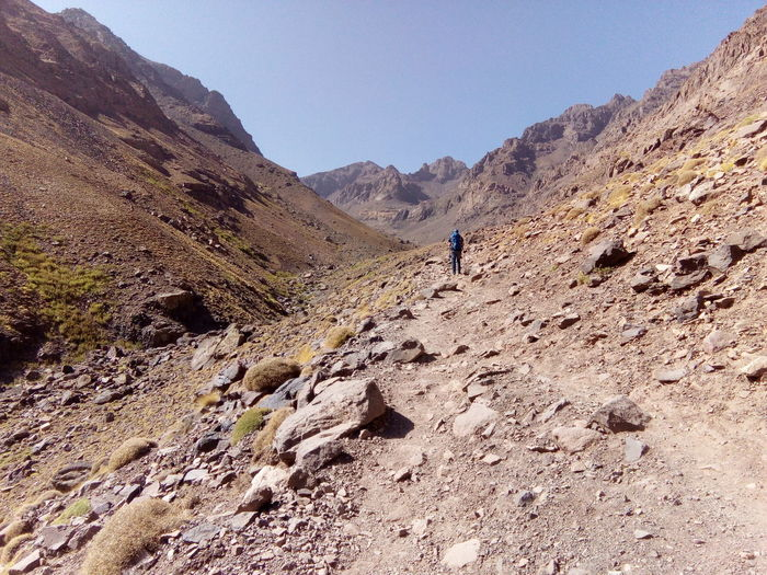 hiking to toubkal, the highest mountain in morocco and north africa Morocco MoroccoTrip Morocco 🇲🇦 Toubkal Marokko Mountain Adventure Full Length Men Sand Dune Hiking Desert Standing Arid Climate Climbing Hiker Mountain Climbing