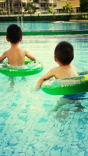 They really like water! Missing these 'monkeys' ! lol! Asian  Nephews Love Family