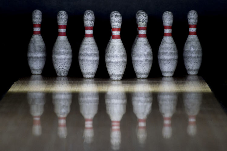old bowling Bowling Reflection Sport Active Leisure Activity Old Indoors  Side By Side No People Still Life Large Group Of Objects In A Row Bottle Table Order Arrangement Variation Choice Container Shelf Close-up Wood - Material Leisure Games Selective Focus