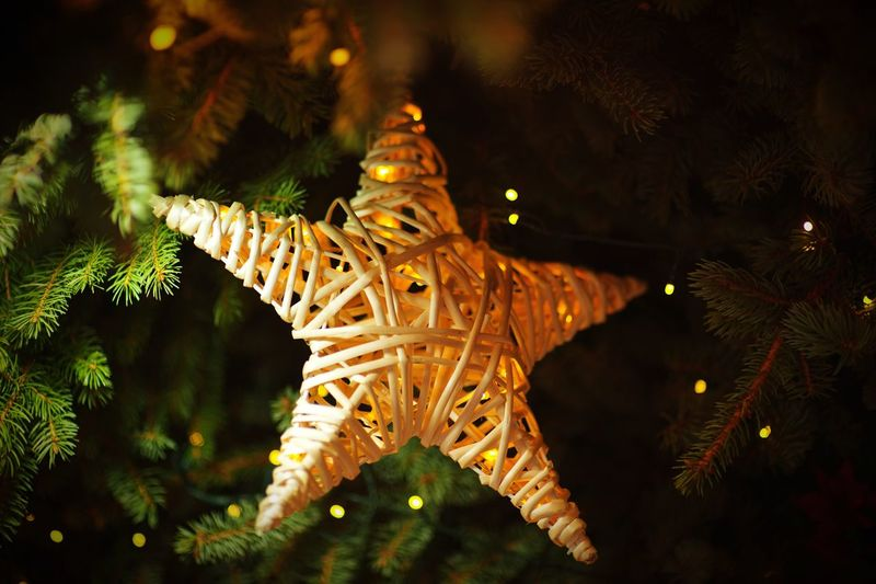 Close-up of star hanging on christmas tree at night