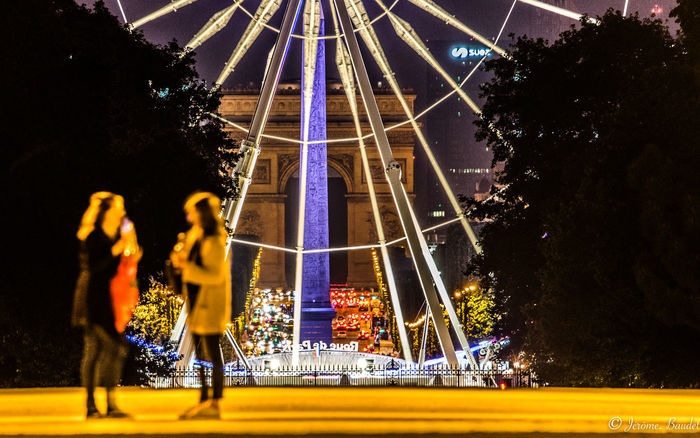 Grande Roue Louvre Paris Paris, France  Champs Elysees City Illuminated Night Real People