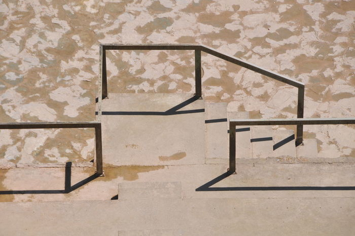 Stairs Day Handrails No People One Color Pattern Sand Color Shadow