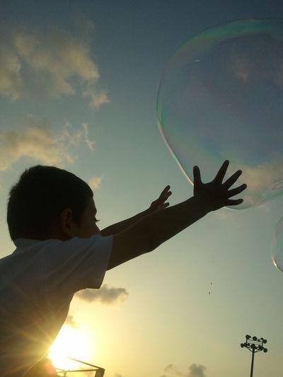 Chaild Happy Child  Water Balloon Silhouette Human Hand Tree Digital Composite Sky