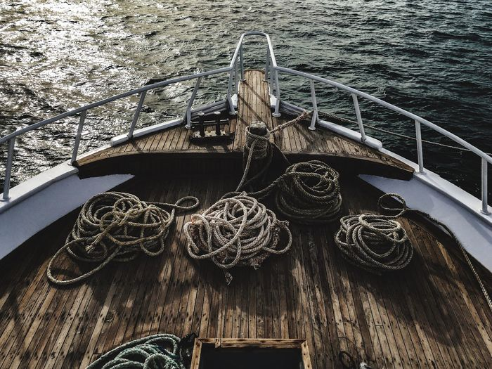 High angle view of rope on sailboat
