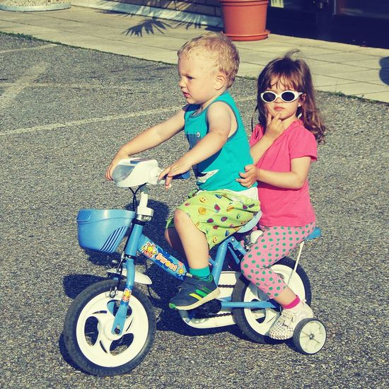 Children Playing Bicycle Uniqueness Child Drive Bicyclove Share Two People Two Kids