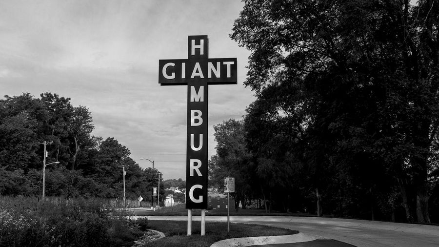 Giant Hamburg Road Sign Route 66 Route66 Route 66 Sign Springfield, MO Mother Road Ozarks Bnw Bnw_collection Bnw_captures Bnwphotography Bnw_friday_challenge Bnw_society