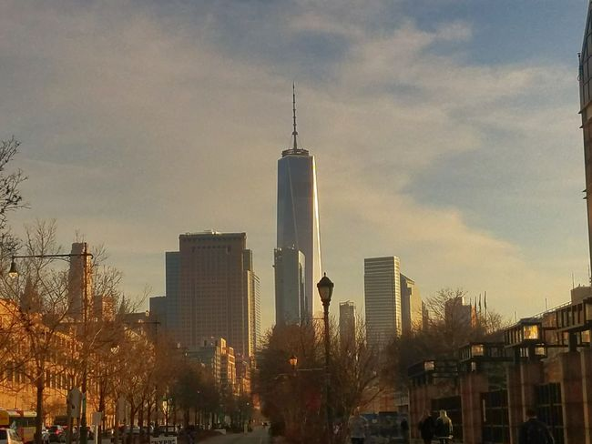 One World Trade Center glimming in the sunset (2/20/2018) Skyscraper Architecture Urban Skyline Travel Destinations City Modern Downtown District Building Exterior Office Building Exterior Sunset Cityscape Park - Man Made Space Outdoors Cloud - Sky Illuminated