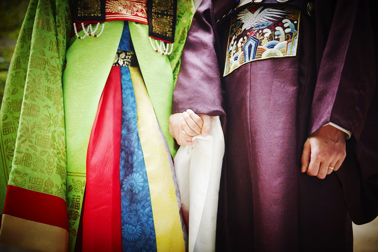 Midsection of wedding couple wearing hanbok