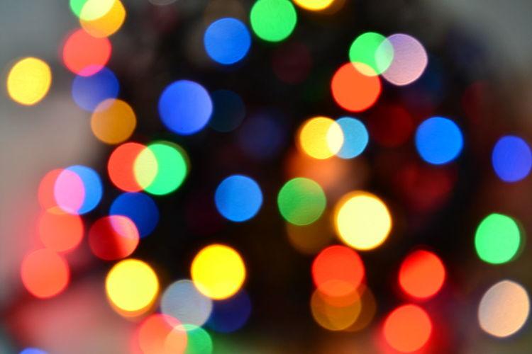 Defocused image of illuminated decorations