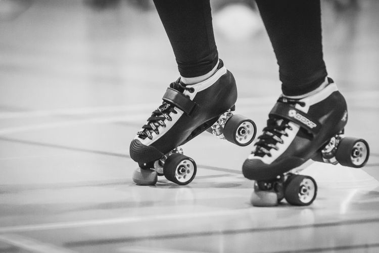 Quads Roller Derby Balance Black And White Blackandwhite Close-up Low Section Roller Skate Roller Skate Girl Roller Skates Roller Skating Rollerderby Rollerderbygirls Sport