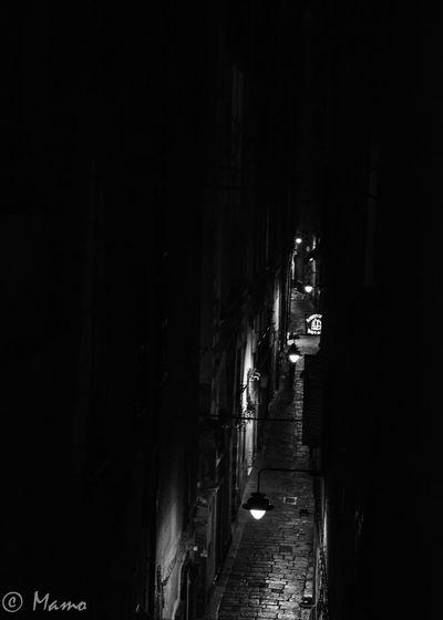 Genoa - Carruggio Genoa, Italy, Europe, Liguria Street City Black & White Hystorical Centre