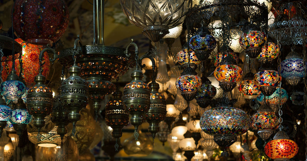 Traditional Turkish Mosaic Lanterns and Lamps Istanbul Lantern Light Mosaic Red Shopping Turkey Art And Craft Blue Close-up For Sale Grand Bazaar Handmade Hanging Illumination Lamps Large Group Of Objects Retail  Store Tourism Traditional Turkish