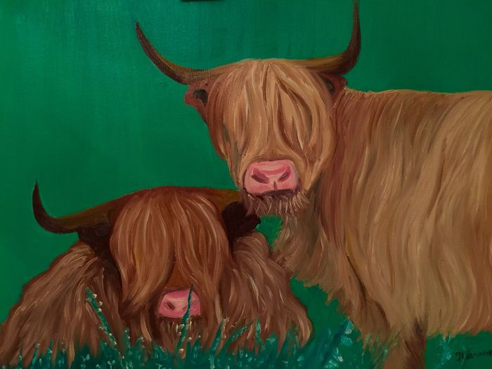 Highland Cows Artist Animal_collection Myartwork Painting EyeEm Nature Lover Oil Painting HighlandCows Scotland Animals Art #illustration #drawing #draw #tagsforlikes #picture #photography #artist #sketch #sketchbook #paper #pen #pencil #artsy #in