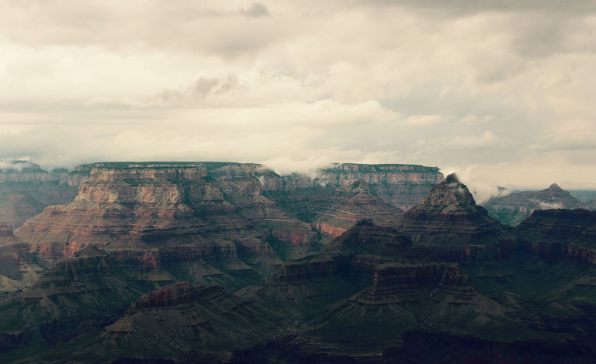 View of grand canyon against cloudy sky