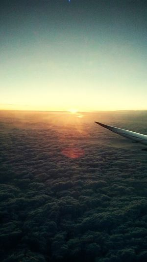 The Great Outdoors - 2016 EyeEm Awards Up In The Sky Watching The Sunset The Reflection Of Sun Onthe Clouds Was D Bst Part Bst Seen Ever Frm D Top Of Shanghai♥