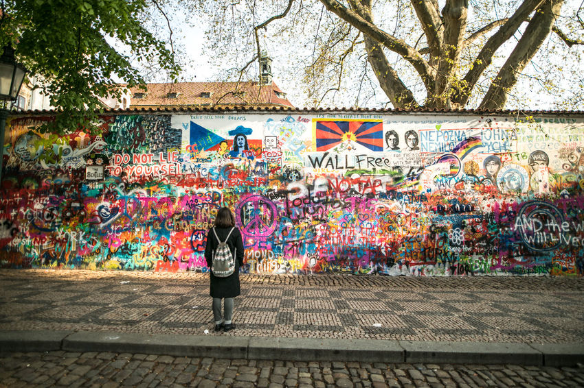 EyeEm Gallery Lennon Wall Praha Rear View The Week on EyeEm Tourist Travel Canonphotography Light And Shadow Single Figure Travel Destinations