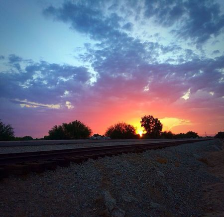 The Start Of Another Amazing Morning In Yuma, AZ✨ Fun With Photography Magical Beautiful Early Morning Beauty In Nature Fresh Morning Decompressing Stressreliever Color Explosion Magic Multi Colored Railroad Track Abandoned Places Abandoned Tracks Beauty In The Sky Clouds