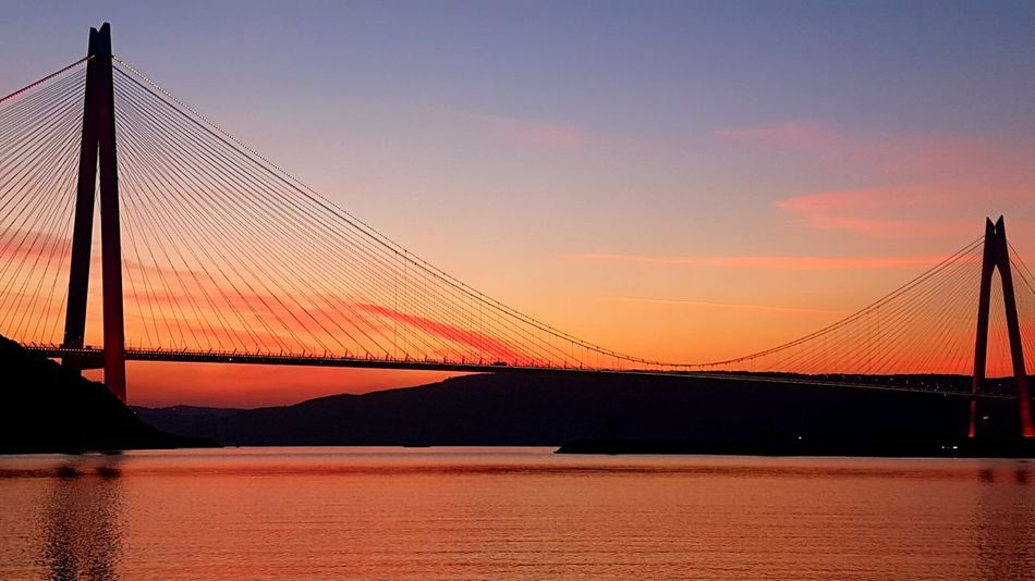 İstanbul Bosphorus Twilight No Filter, No Edit, Just Photography Sea Istanbul Autumn Beauty Crimson Colors Suspension Bridge Sunset Bridge - Man Made Structure Connection Sky Silhouette Dusk Outdoors