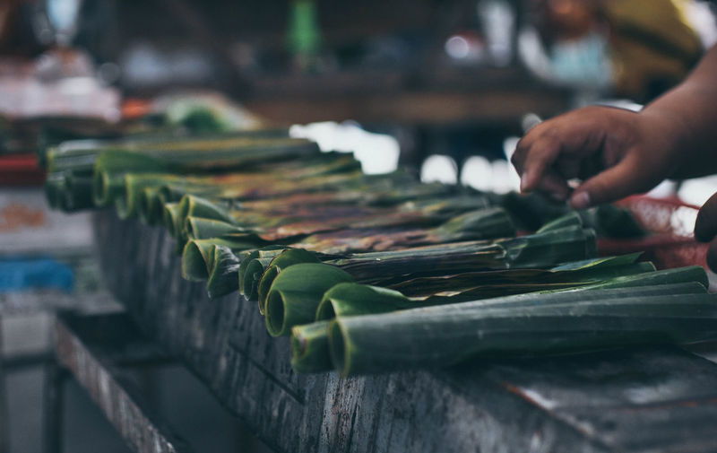 Cropped image of hand on selling leaves at market