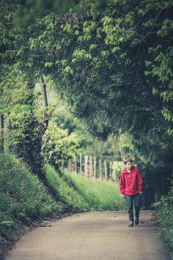 Full length of boy walking on footpath amidst trees