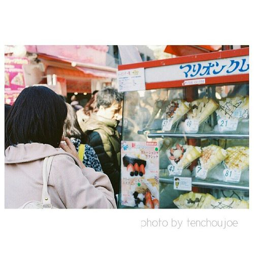 New photo - A trip to #Japan with #Nikon #Fm3a Crepes are one of the most popular desserts in Japan. You can find various flavors and stuffings of crepes, ranging from fruits to ice cream. So why not have one while you are taking a break from all the wa Artoftravel Tenchoujoe Street Fm3a Streetphotography Filmcamera Tokyo JP Kyoto Shootfilm Photography Film OSAKA Nikon Japan Photooftheday 35mm ASIA Nofilter Believeinfilm
