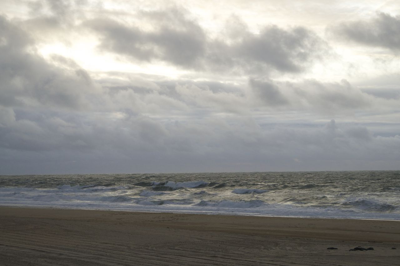 sea, beach, nature, horizon over water, water, sky, cloud - sky, tranquility, scenics, beauty in nature, tranquil scene, sand, no people, outdoors, day, wave