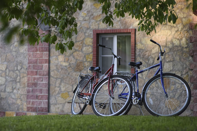 Two bicycles Holiday Activity Bicycle Bicycling Bike Bikes Brick Brick Wall Country Life Countryside Cycling Grass Green Color Land Vehicle Leisure Activity Mode Of Transportation No People Outdoors Park Parking Stationary Stone Wall Transportation Wheel
