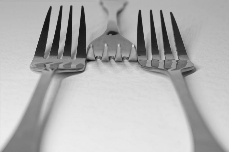 Close-up of fork on table