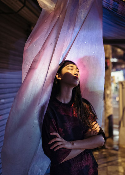 EyeEm Best Shots Night Photography Night Life Portrait Of A Woman Rainy Days Beautiful Woman Lifestyles Neon Neon Lights Portrait Red Light Urban Portraiture Young Women California Dreamin Stories From The City