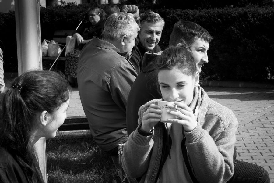 Street scene in Cluj-Napoca, Romania Adult B&w Blackandwhite Bonding Boys Bw Childhood Day Friendship Happiness Leisure Activity Lifestyles Mature Men Men Outdoors People Real People Sitting Smiling Street Streetphoto_bw Streetphotography Togetherness Women Young Women