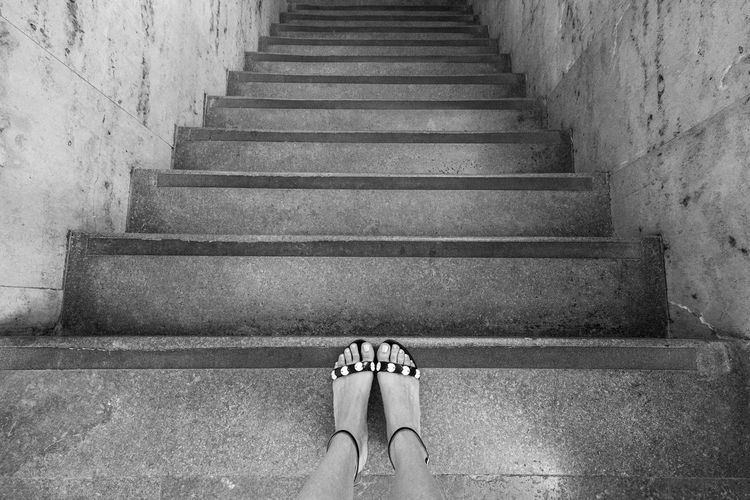 Monochrome Photography Architectural Detail Architectural Feature Architecture Black And White From My Point Of View High Angle View Human Foot Indoors  Low Section Part Of Person Personal Perspective Sandals Shoe Staircase Stairs Standing Steps Steps And Staircases The Way Forward Woman The Architect - 2017 EyeEm Awards